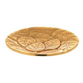 Piatto per candela foglie incise alluminio dorato d. 14 cm s1