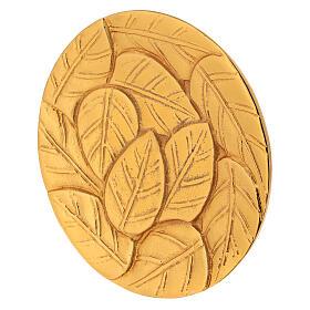 Piatto per candela foglie incise alluminio dorato d. 14 cm s2