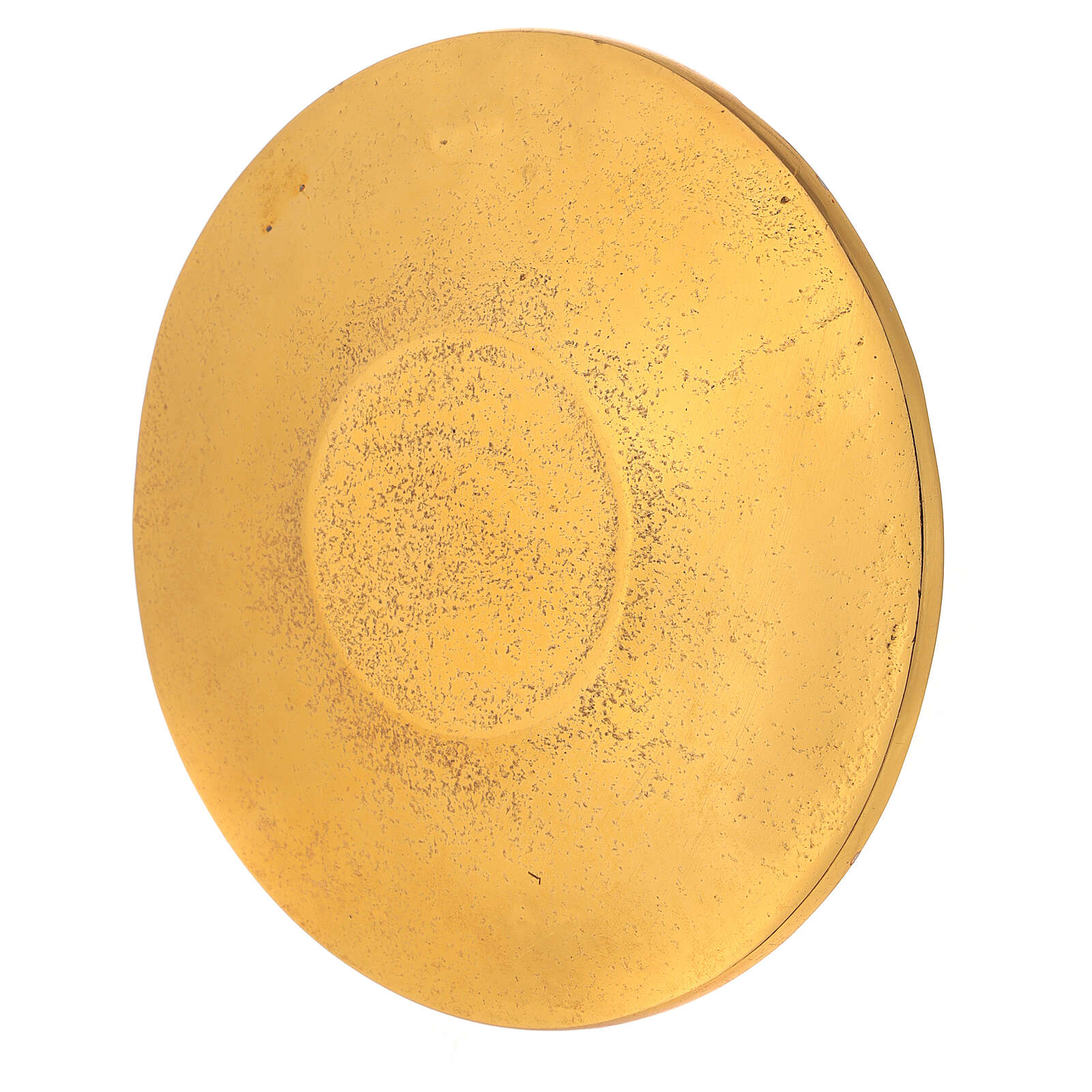 Gold plated aluminium plate for candles engraved with leaves d. 5 1/2 in 3