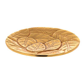 Gold plated aluminium plate for candles engraved with leaves d. 5 1/2 in s1