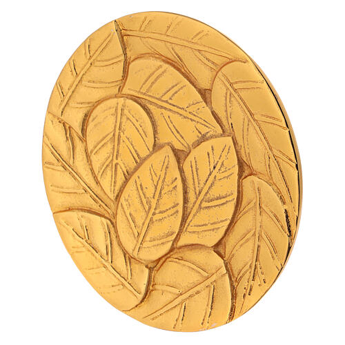 Gold plated aluminium plate for candles engraved with leaves d. 5 1/2 in 2