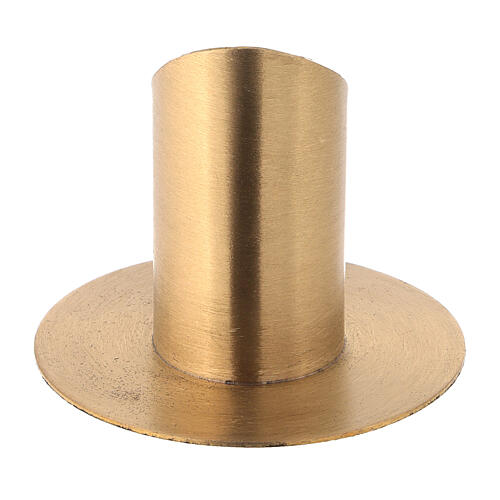 Nickel-plated brass candlestick with satin finish diameter 1 1/2 in 3