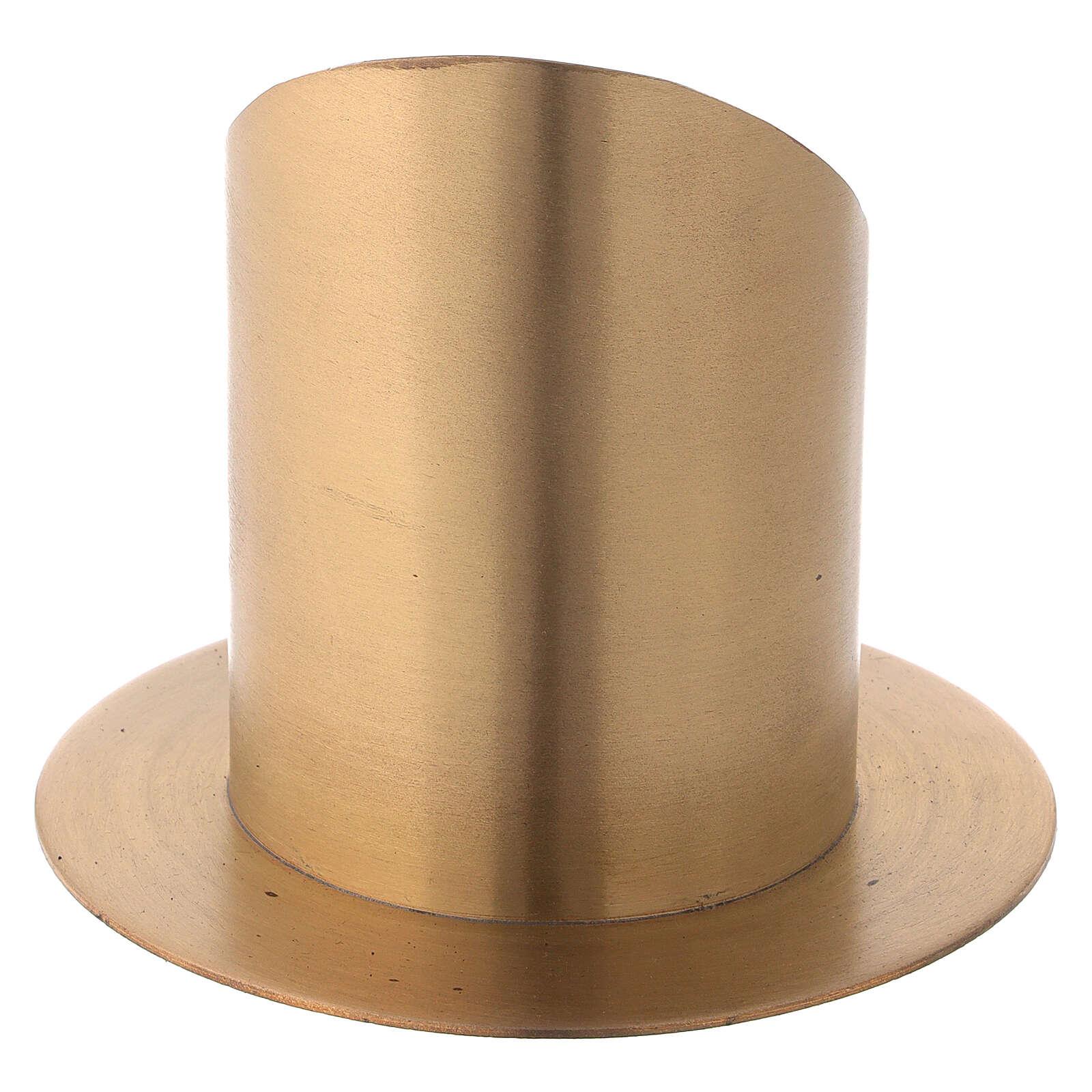 Bougeoir ouvert laiton nickelé satiné diamètre 8 cm 4