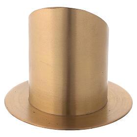 Bougeoir ouvert laiton nickelé satiné diamètre 8 cm s3