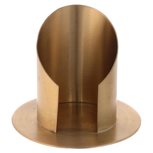Bougeoir ouvert laiton nickelé satiné diamètre 8 cm 1