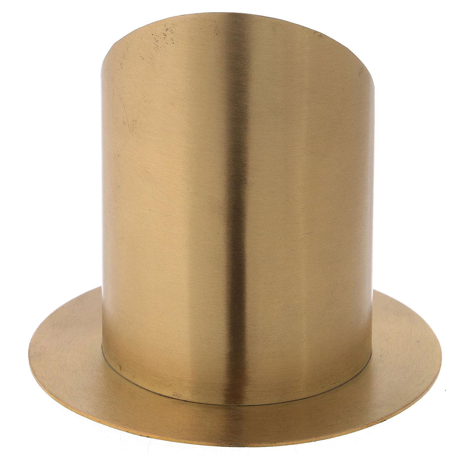 Portacandela ottone nichelato satinato fronte aperto d. 10 cm 4