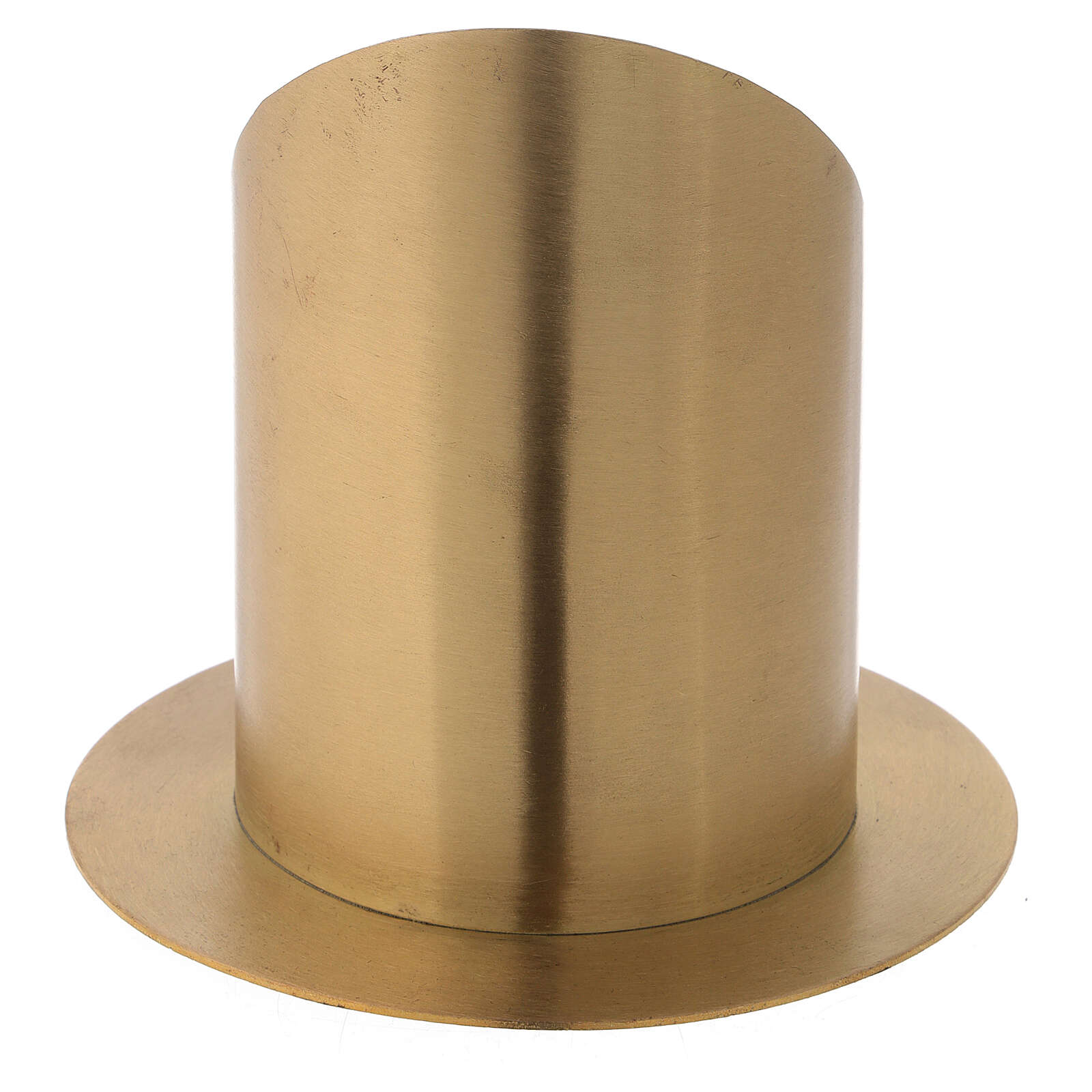 Nickel-plated brass candlestick with satin finish front opening d. 4 in 4