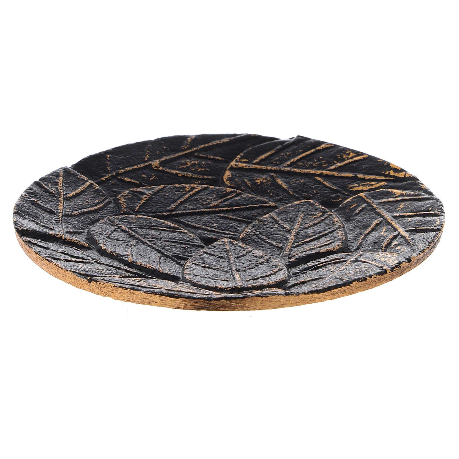 Assiette pour bougie aluminium noir or décoration feuilles diam. 12 cm 3