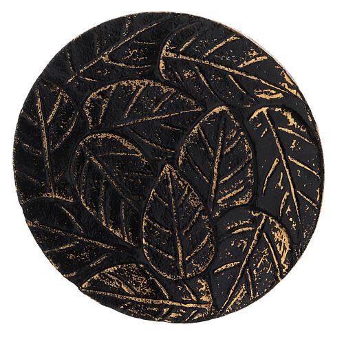 Assiette pour bougie aluminium noir or décoration feuilles diam. 12 cm 2