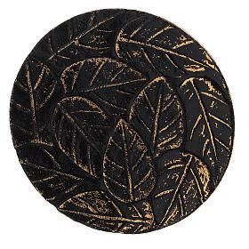Piatto per candela alluminio nero oro decoro foglie d. 12 cm s2