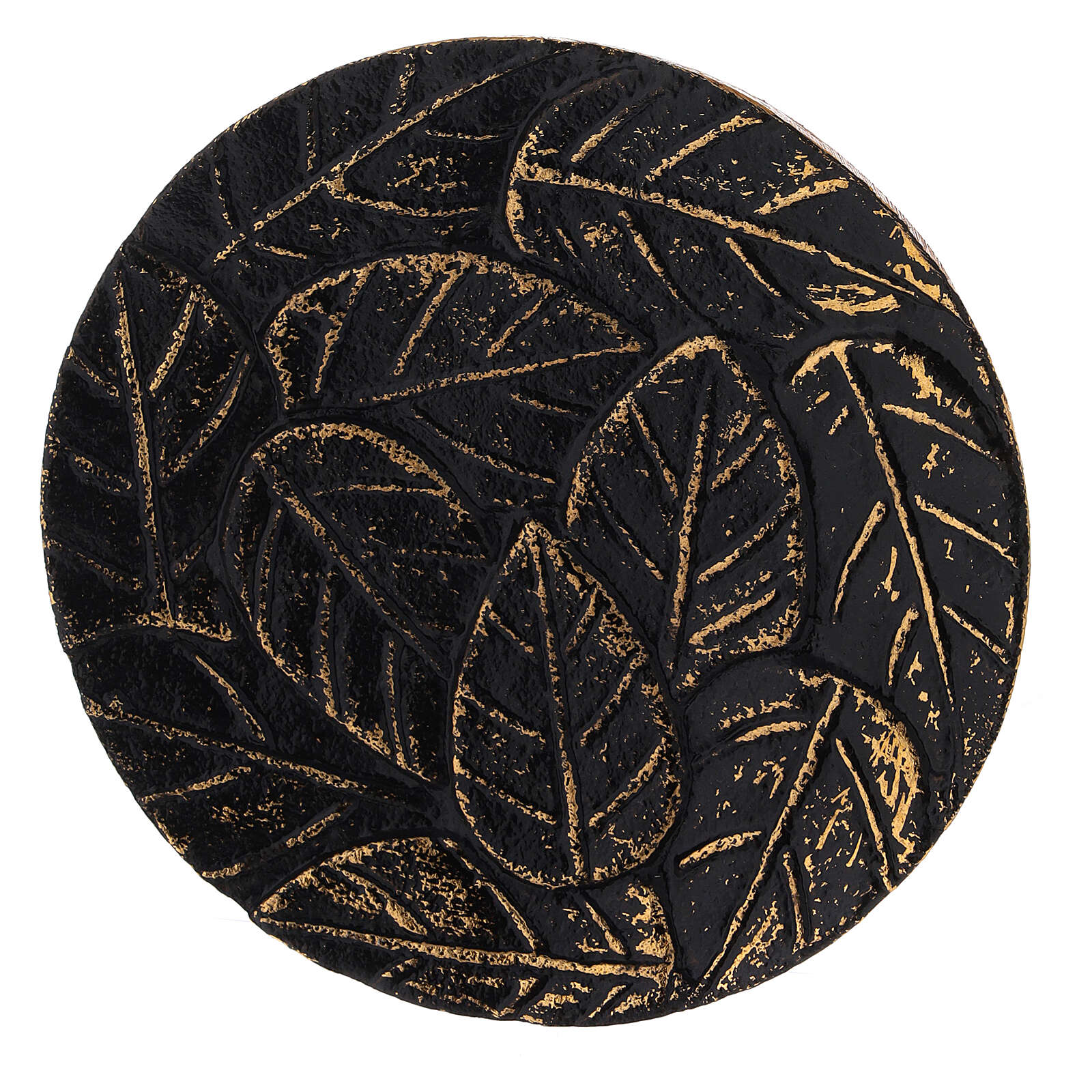 Black aluminium plate for candles leaves decoration with gold details d. 4 3/4 in 3