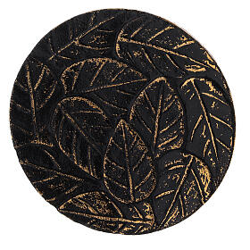 Black aluminium plate for candles leaves decoration with gold details d. 4 3/4 in s2