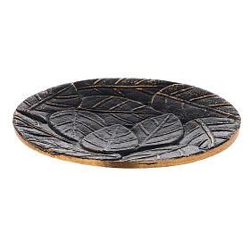 Platillo hojas incisas aluminio negro oro diámetro 14 cm s1