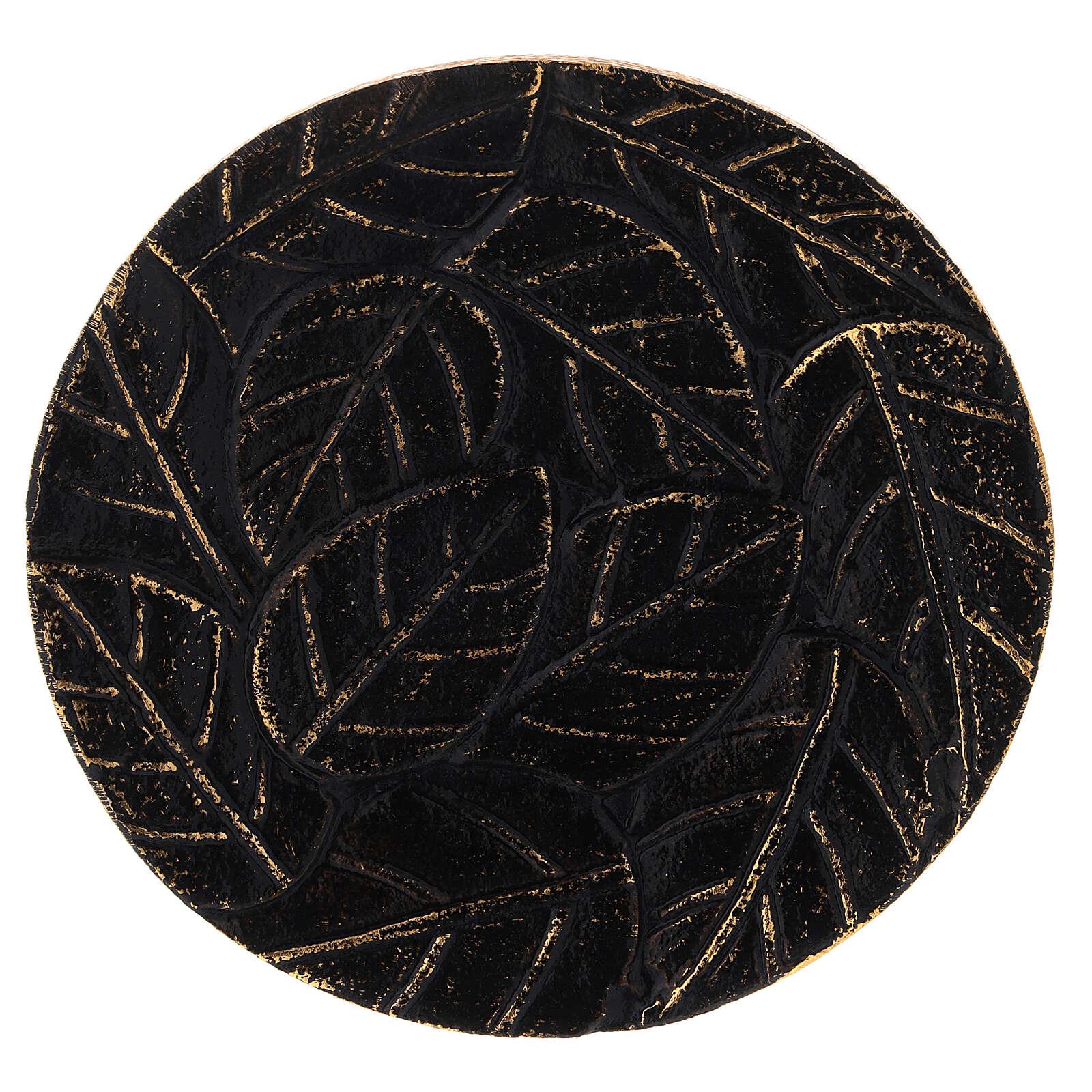 Piattino foglie incise alluminio nero oro diametro 14 cm 3