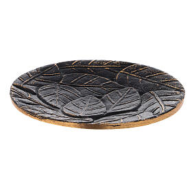 Black aluminium plate for candles leaves decoration with gold details d. 5 1/2 in s1