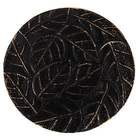 Black aluminium plate for candles leaves decoration with gold details d. 5 1/2 in s2