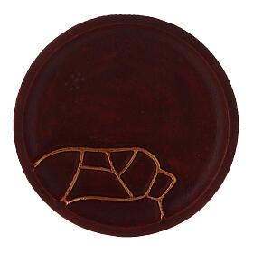 Piatto portacandela alluminio rosso diametro 12 cm s2