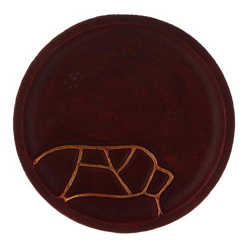 Piatto portacandela alluminio rosso diametro 12 cm 2