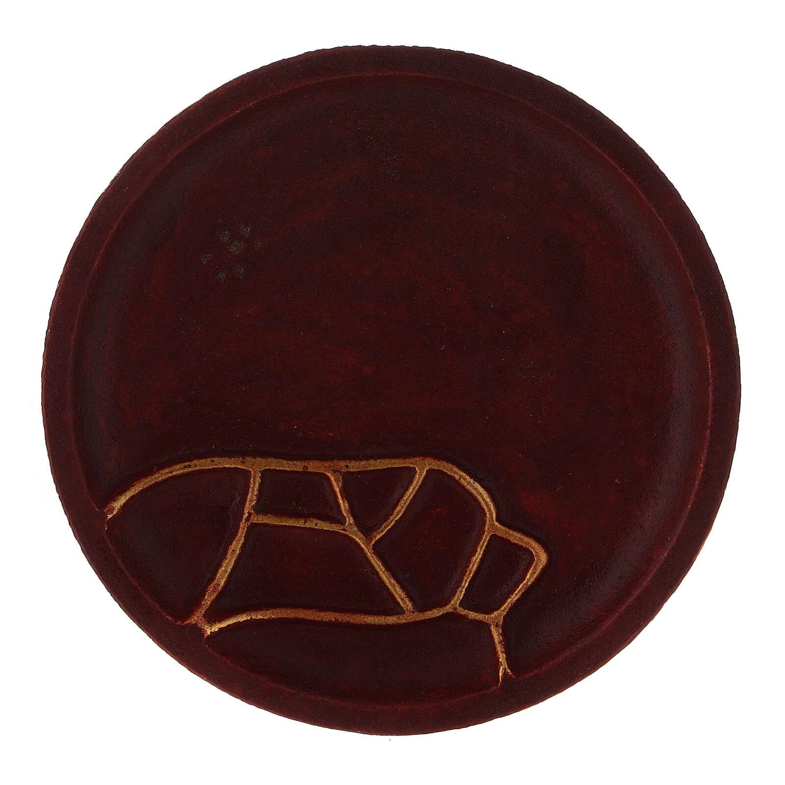 Red aluminium candle holder plate diameter 4 3/4 in 3