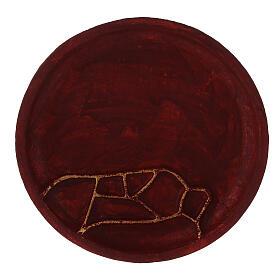 Assiette pour bougie aluminium rouge décoration abstraite diam. 14 cm s2