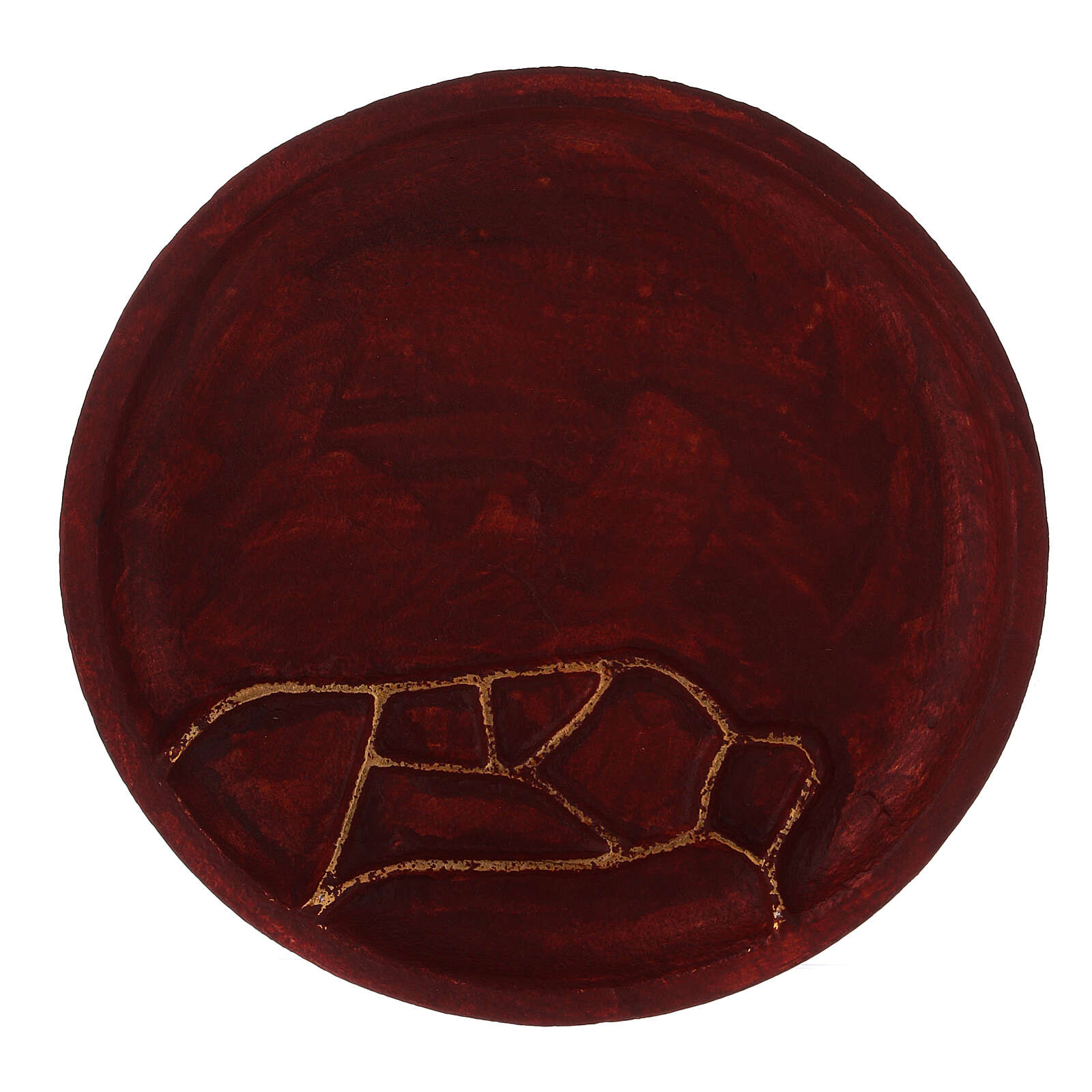 Red aluminium plate for candles abstract decoration d. 5 1/2 in 3