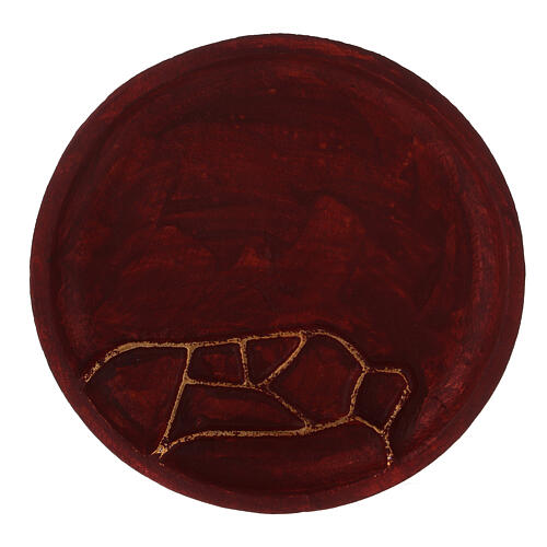 Red aluminium plate for candles abstract decoration d. 5 1/2 in 2