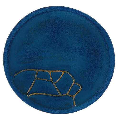 Turquoise plate for candles diameter 4 3/4 in 2