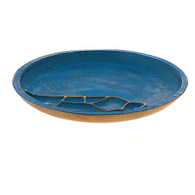Assiette porte-bougie turquoise diam. 14 cm aluminium s1