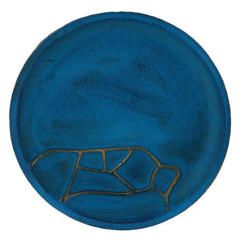 Assiette porte-bougie turquoise diam. 14 cm aluminium 2
