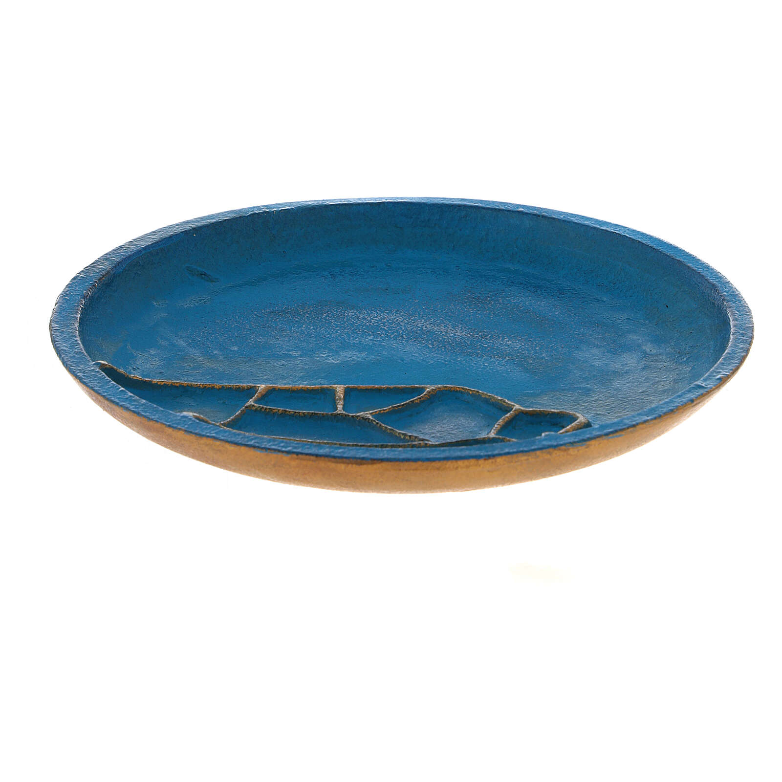Turquoise candle holder plate aluminium 5 1/2 in 3