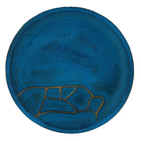 Turquoise candle holder plate aluminium 5 1/2 in s2