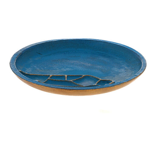 Turquoise candle holder plate aluminium 5 1/2 in 1