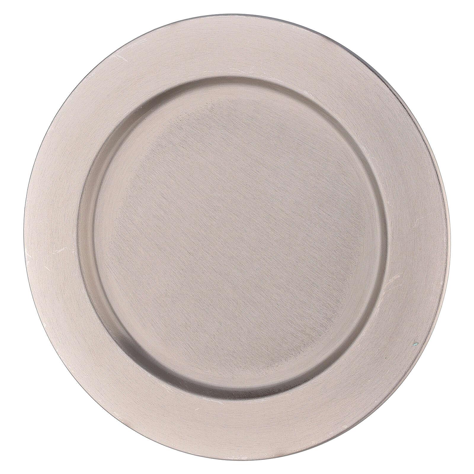 Piatto portacandela bordo spesso ottone nichelato d. 21 cm 3
