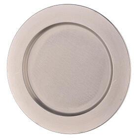 Piatto portacandela bordo spesso ottone nichelato d. 21 cm s1