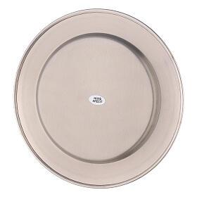 Piatto portacandela bordo spesso ottone nichelato d. 21 cm s3