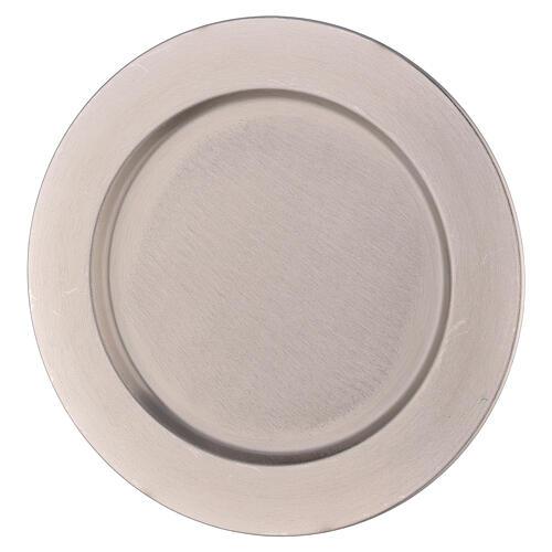 Piatto portacandela bordo spesso ottone nichelato d. 21 cm 1