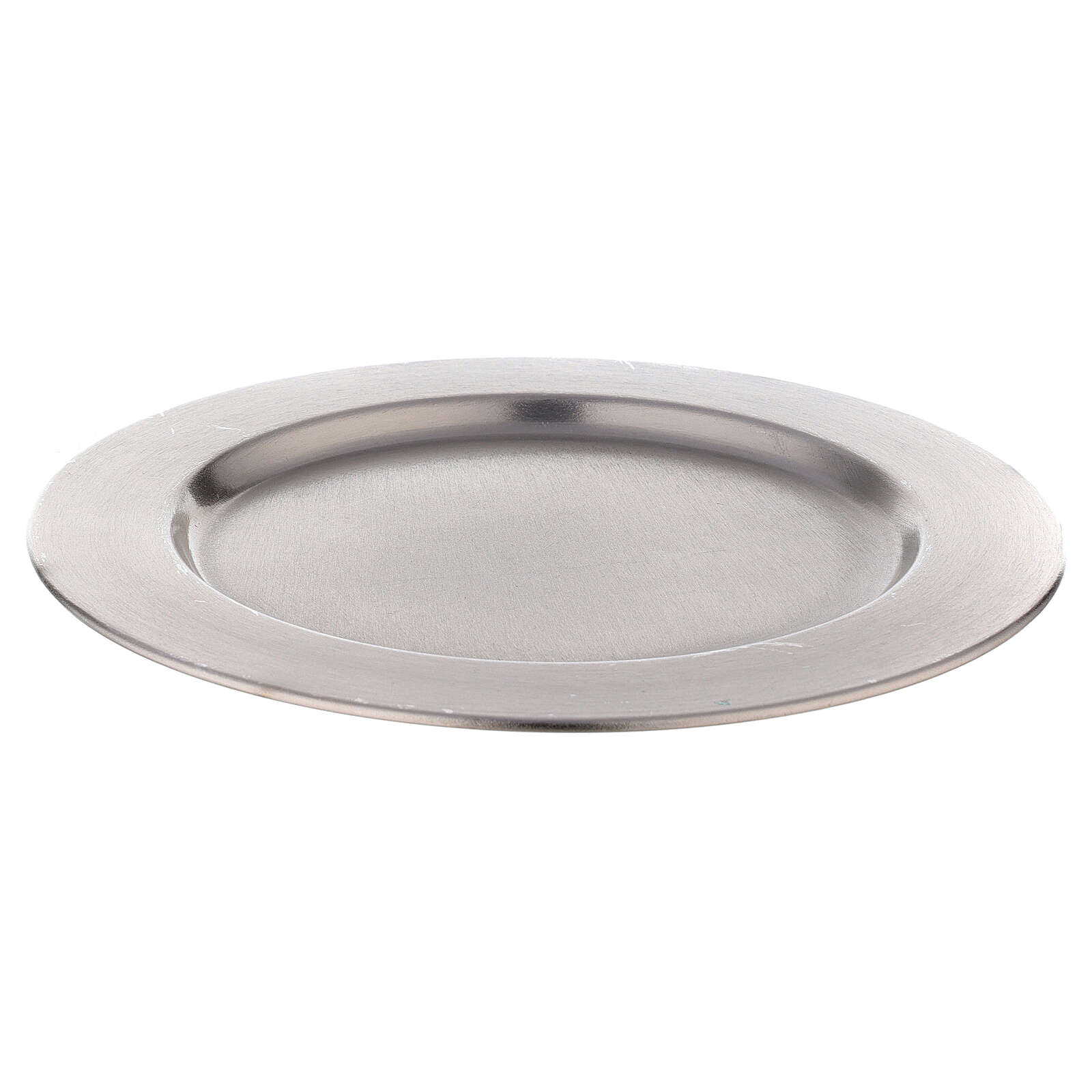 Thick edge candle holder plate in nickel-plated brass d. 8 1/4 in 3
