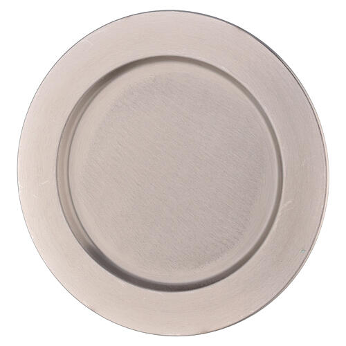 Thick edge candle holder plate in nickel-plated brass d. 8 1/4 in 1
