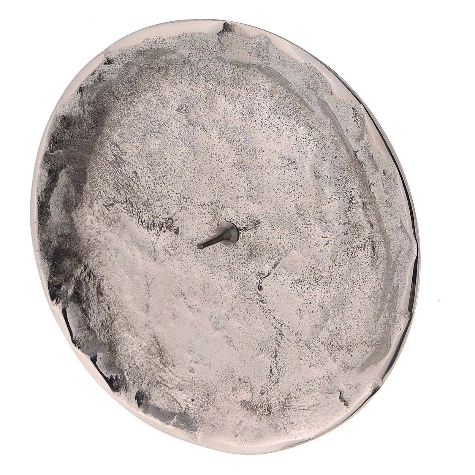 Plato para velas irregular punta d. 9 cm latón niquelado 3
