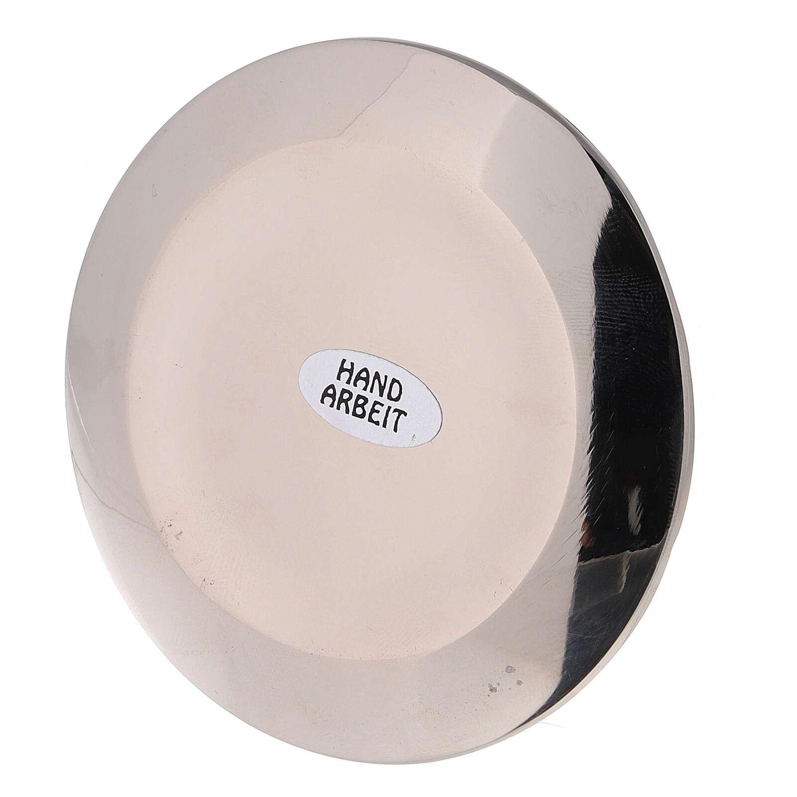 Assiette pour bougie irrégulière pique diam. 9 cm laiton nickelé 3