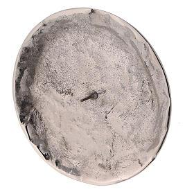 Assiette pour bougie irrégulière pique diam. 9 cm laiton nickelé s2