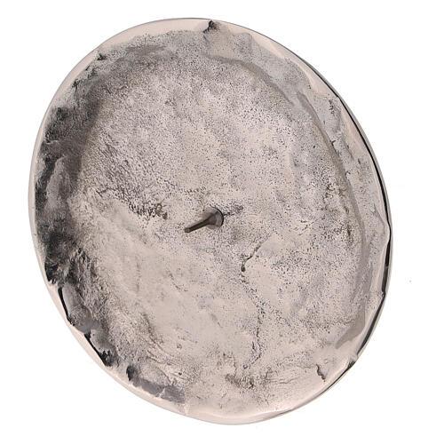 Assiette pour bougie irrégulière pique diam. 9 cm laiton nickelé 2