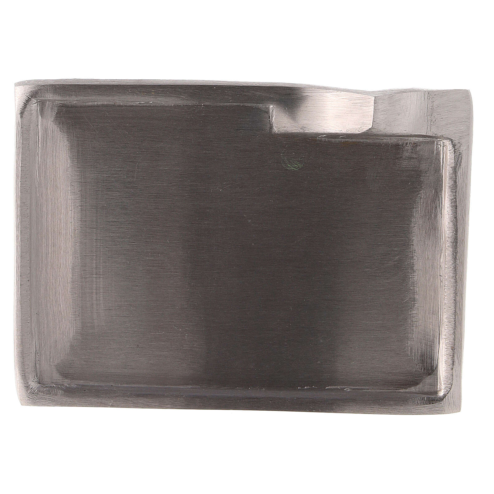 Nickel-plated brass candle holder plate with raised details 3 1/2x2 1/2 in 3