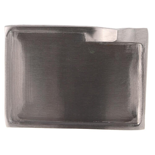Nickel-plated brass candle holder plate with raised details 3 1/2x2 1/2 in 2