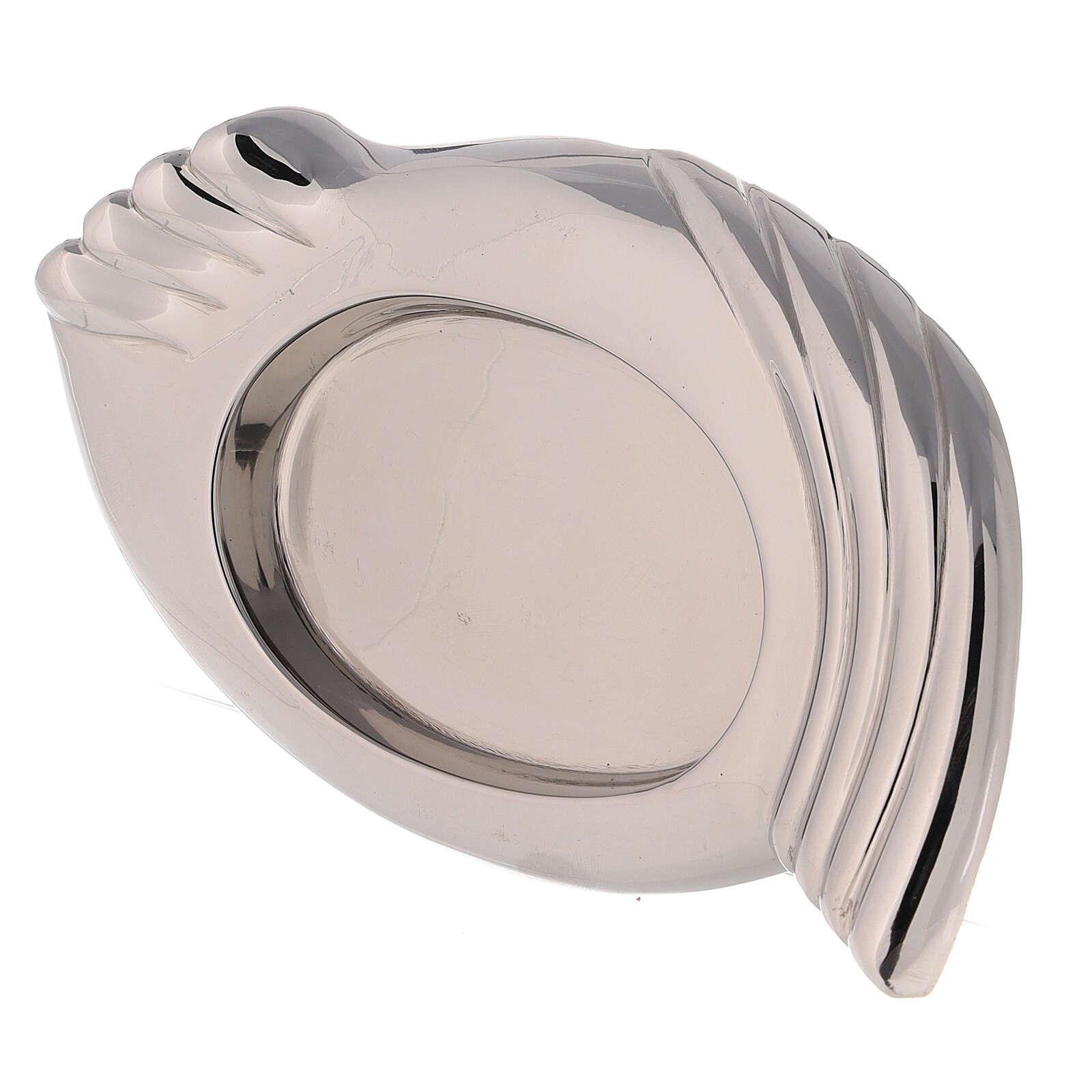 Assiette pour bougie laiton nickelé ailes 8,5x5,5 cm 3