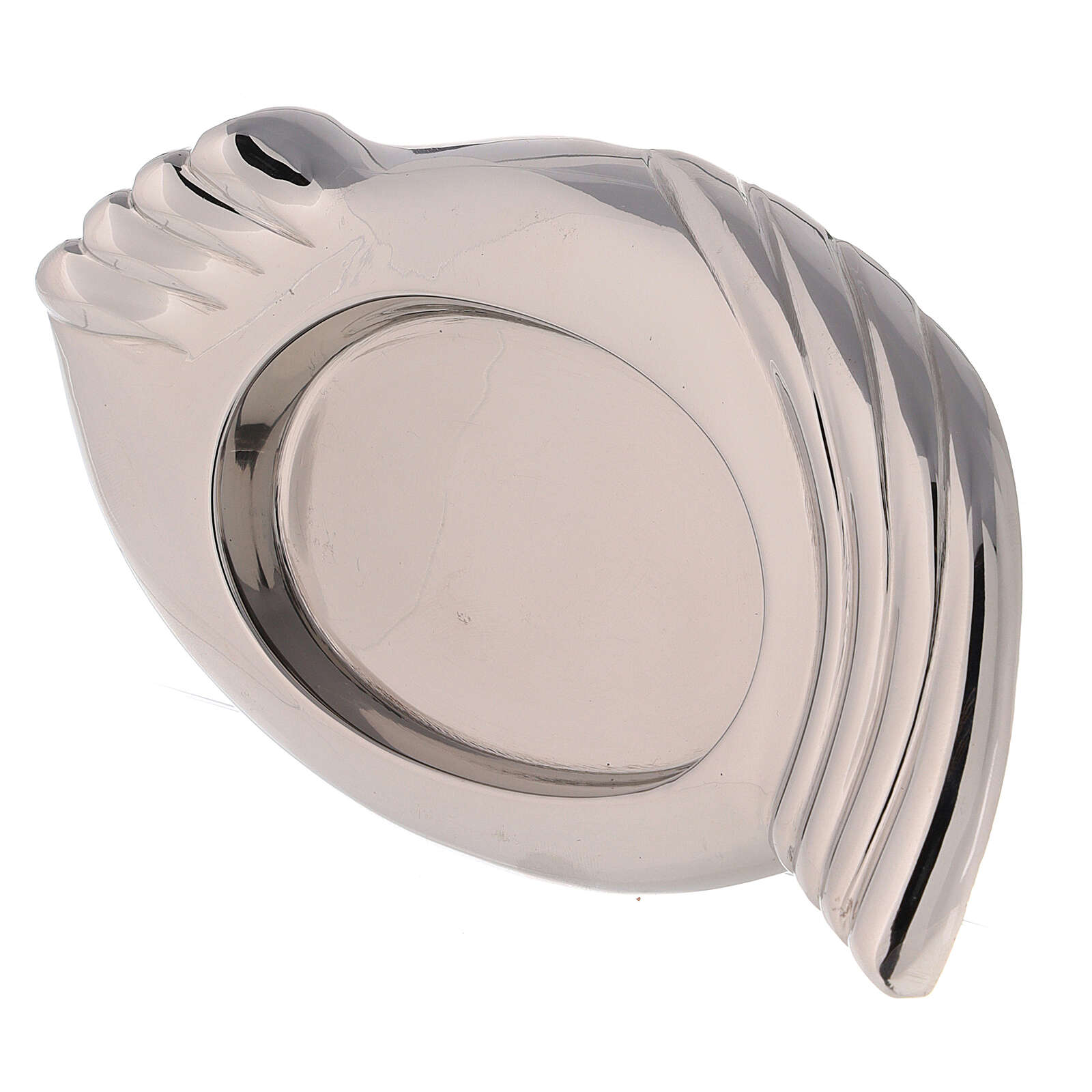 Nickel-plated brass candle holder plate wings 3 1/4x2 1/4 in 3