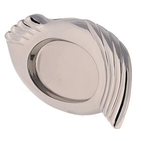Nickel-plated brass candle holder plate wings 3 1/4x2 1/4 in s2