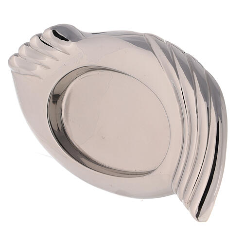 Nickel-plated brass candle holder plate wings 3 1/4x2 1/4 in 2