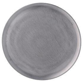 Plato portavela aluminio satinado redondo d. 19 cm s2