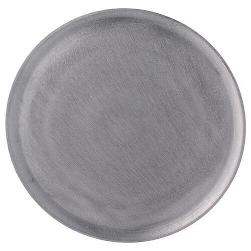 Plato portavela aluminio satinado redondo d. 19 cm 2
